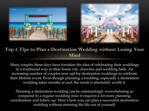 Top 5 Tips to Plan a Destination Wedding without Losing Your Mind
