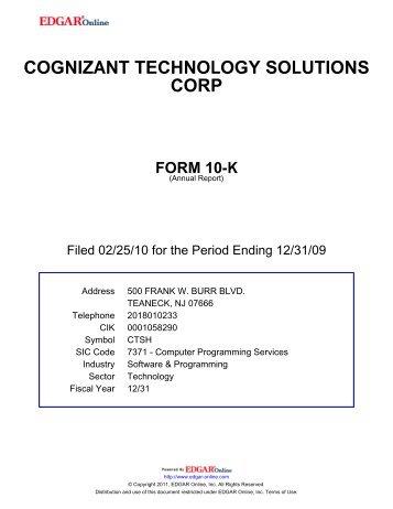 cognizant technology solutions corp form 10-k - Jaarverslag.com