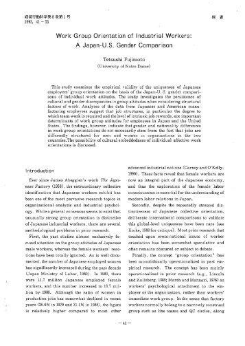 Work Group Orientation of Industrial Workers: A Japan-U.S. Gender ...