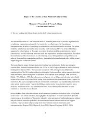 Impact of the Creative Artisan Model on Cultural Policy