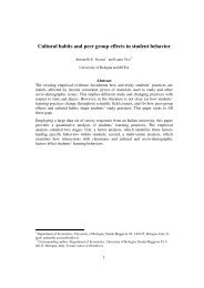 Cultural habits and peer group effects in student behavior