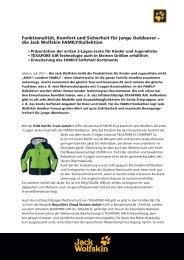 Funktionalität, Komfort und Sicherheit für junge ... - Jack Wolfskin