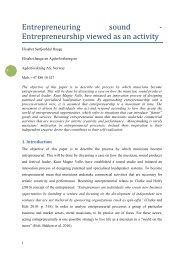 Entrepreneuring sound - Entrepreneurship viewed as an activity