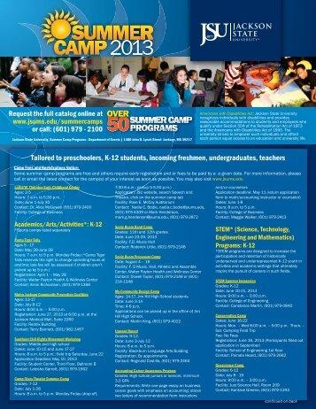 JSU Camp Brochure - Jackson Public Schools