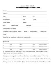 Jackson Public Schools Volunteer Application Form