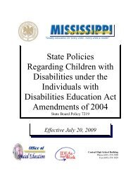 State Policies Regarding Children with Disabilities under the