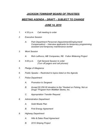 Jackson Township Board Of Trustees Meeting Agenda âu20acu201c Draft âu20acu201c Subject .  Draft Meeting Agenda