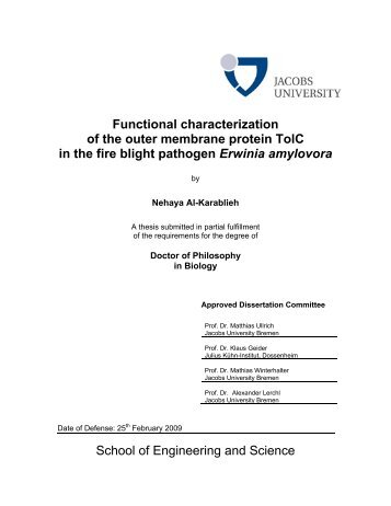 Functional characterization of the outer ... - Jacobs University