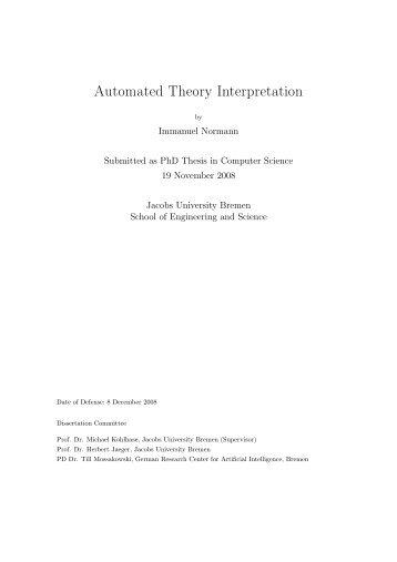 Automated Theory Interpretation (PhD Thesis) - Jacobs University