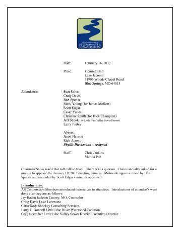 Date: February 16, 2012 Place: Fleming Hall Lake ... - JacksonGov.org