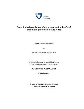 Coordinated regulation of gene expression by E ... - Jacobs University