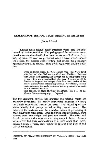 Readers, Writers, and Texts: Writing in the Abyss - JAC Online