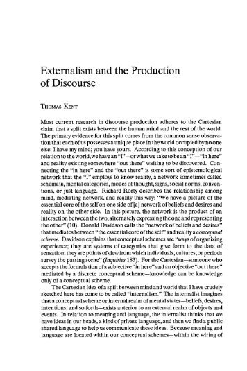 Externalism and the Production of Discourse - JAC Online