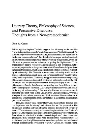 Literary Theory, Philosophy of Science, and ... - JAC Online