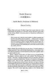 Reader Response Judith Butler, Professor of Rhetoric - JAC Online