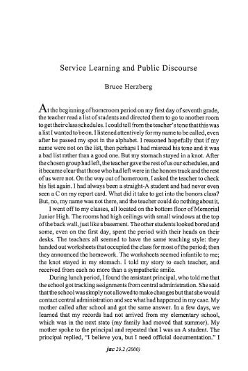 Service Learning and Public Discourse - JAC Online
