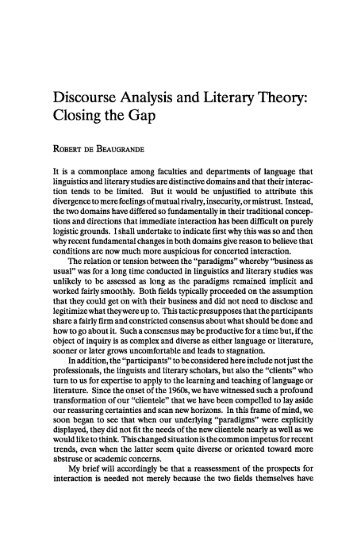 Discourse Analysis and Literary Theory: Closing the Gap - JAC Online