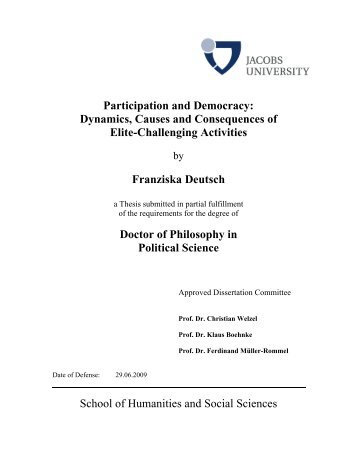 Participation and Democracy: Dynamics, Causes ... - Jacobs University