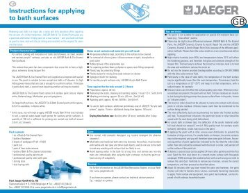 Instructions for applying to bath surfaces - Paul Jaeger GmbH & Co ...
