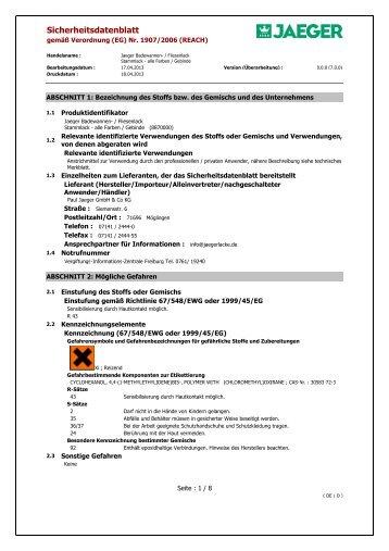 Sicherheitsdatenblatt - Paul Jaeger GmbH & Co. KG