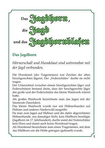 Jagdhorn, Jagd und Jagdhornblasen - Jaegerschaft-peine.de