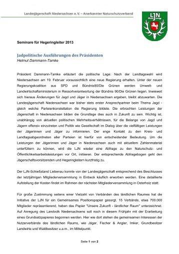 Jadpolitische usführungen des Präsidenten - Jägerschaft Stade eV