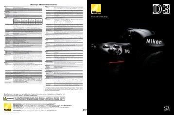 Nikon Digital SLR Camera D3 Specifications - Jafa Photography