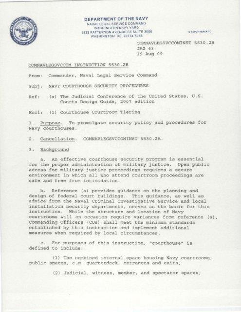 Aug 1 9 2009 U S Navy Judge Advocate General S Corps