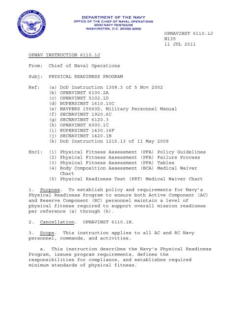 Opnavinst 6110 1 J Department Of The Navy Issuances