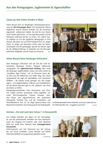 Aus den Kreisgruppen, Jagdvereinen & Jägerschaften