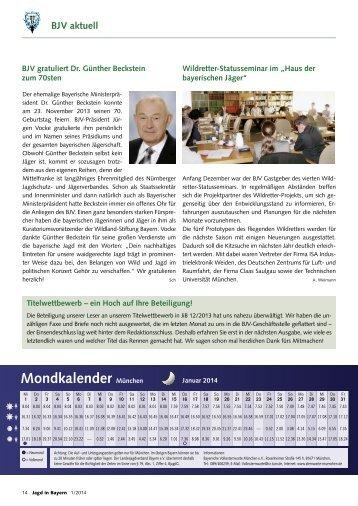 Mondkalender München - Landesjagdverband Bayern