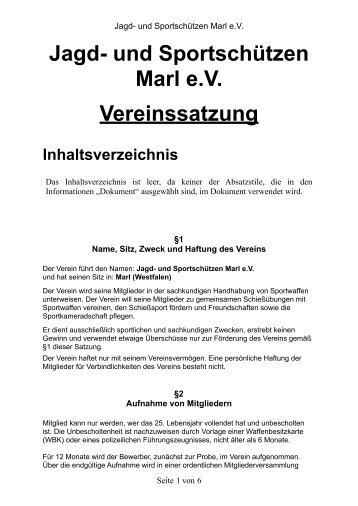 Jagd- und Sportschützen Marl eV Vereinssatzung Inhaltsverzeichnis