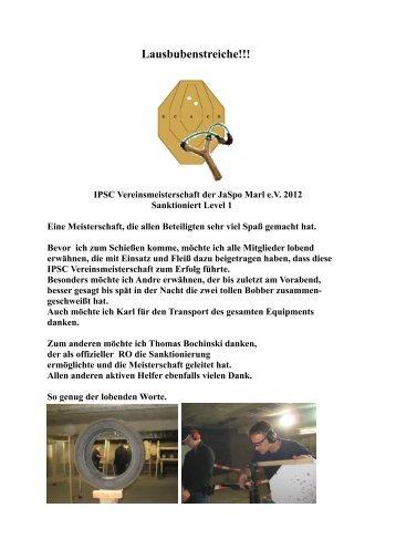 Lausbubenstreiche_VM 2012_Bericht - Jagd & Sportschützen Marl eV