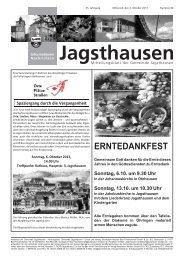 ERNTEDANKFEST - in der Gemeinde Jagsthausen