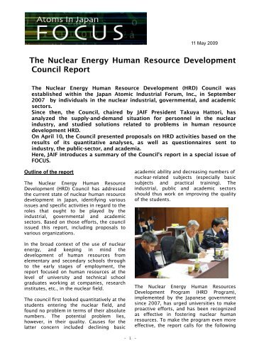 The Nuclear Energy Human Resource Development Council Report