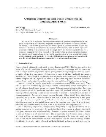 Quantum Computing and Phase Transitions in Combinatorial Search