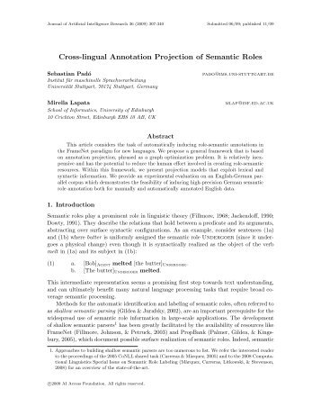Cross-lingual Annotation Projection of Semantic Roles - Journal of ...