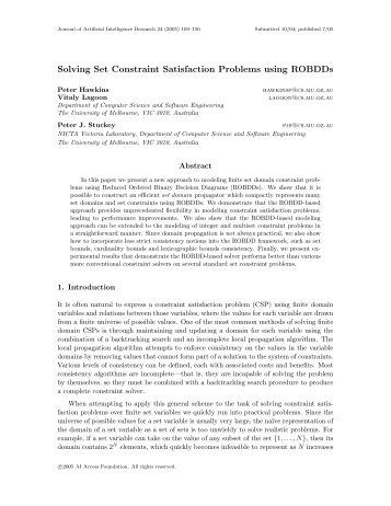 Solving Set Constraint Satisfaction Problems using ROBDDs