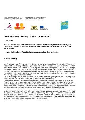 """INFO - Netzwerk """"Bildung – Leben – Ausbildung"""" 0. Leitziel 1 ..."""