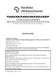 Programme for the NAI/CAS conference on South African history