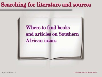 Literature search African Studies (pp-presentation in pdf