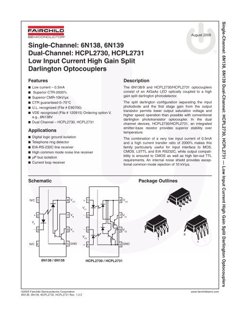 2.5 kV 60 mA 500 /% 1 Channel Darlington Output DIP 5 X Optocoupler 4 Pins