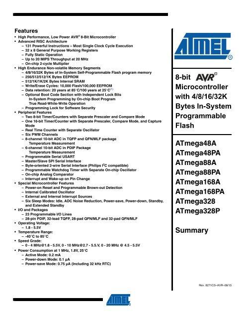 5pcs atmega88pa-au 8-bit microcontroller with 8k bytes in.