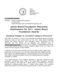James Beard Foundation Welcomes Submissions for 2011 James ...