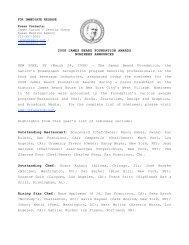 2008 James Beard Foundation Awards Nominees Announced