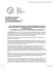 2007 James Beard Foundation Awards Nominees Announced