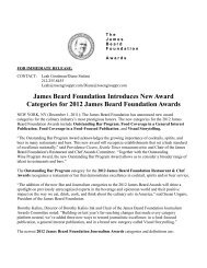 James Beard Foundation Introduces New Award Categories for ...