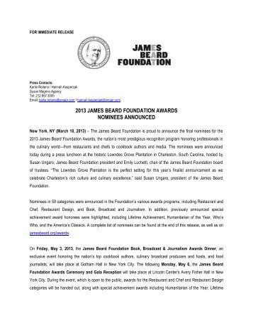 2013 james beard foundation awards nominees announced