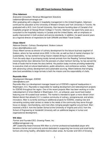 1 2012 JBF Food Conference Participants Clive Adamson Executive ...