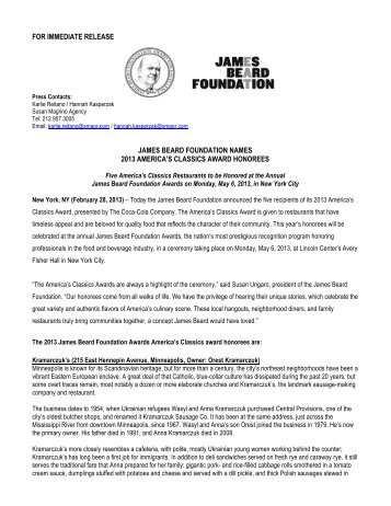 Announcing the 2013 America's Classics - James Beard Foundation